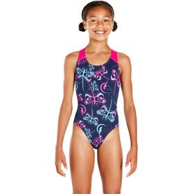 speedo Flashfly Allover Splashback Swimsuit Girls Navy/Turquoise/Electric Pink